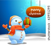 snowman and christmas sign | Shutterstock .eps vector #63951295