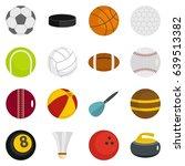 sport balls icons set in flat... | Shutterstock . vector #639513382