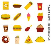 fast food cons set in flat... | Shutterstock . vector #639513952