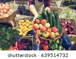 people buying fresh local... | Shutterstock . vector #639514732