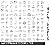 100 wedding banquet icons set... | Shutterstock . vector #639516028