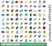 100 town icons set in isometric ... | Shutterstock . vector #639516652