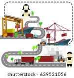 port warehouse and shipment... | Shutterstock .eps vector #639521056