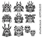 set of samurai masks and... | Shutterstock .eps vector #639536335