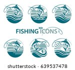 collection of fishing emblems... | Shutterstock .eps vector #639537478