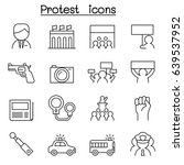 protest icon set in thin line... | Shutterstock .eps vector #639537952