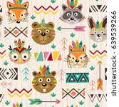 seamless pattern with tribal... | Shutterstock .eps vector #639539266