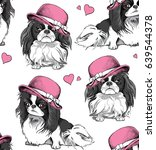 Stock vector seamless pattern with a japanese chin dog in a pink ladies hat vector illustration 639544378