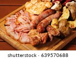 big wooden board with assorted... | Shutterstock . vector #639570688