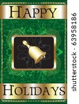 Raster version of Illustration of a Happy Holidays Bell Poster. - stock photo