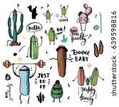 set of funny cartoon succulents ...   Shutterstock .eps vector #639598816