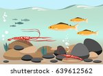 fish and shrimp on a river   Shutterstock .eps vector #639612562