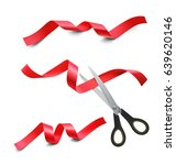 set of red ribbons and scissors ... | Shutterstock .eps vector #639620146