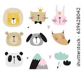 vector print with cute animal.... | Shutterstock .eps vector #639628042