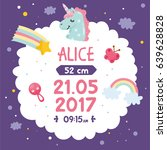 baby shower poster with cute... | Shutterstock .eps vector #639628828