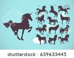 magic cute unicorns silhouettes ... | Shutterstock .eps vector #639633445