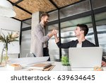 cheerful male managers are...   Shutterstock . vector #639634645