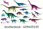 set  silhouettes  dino... | Shutterstock .eps vector #639635155