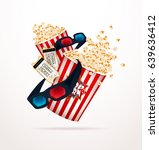 set of popcorn  3d glasses ... | Shutterstock .eps vector #639636412