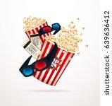 set of popcorn  3d glasses ... | Shutterstock .eps vector #639636412