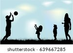 silhouette family in nature. | Shutterstock .eps vector #639667285