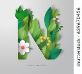 3d vector letter n with leaves... | Shutterstock .eps vector #639670456