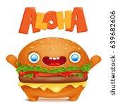cartoon burger emoticon... | Shutterstock .eps vector #639682606