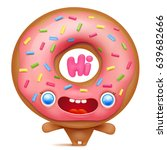 donut cartoon emoji character... | Shutterstock .eps vector #639682666
