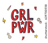 girl power. feminism quote ... | Shutterstock .eps vector #639700558