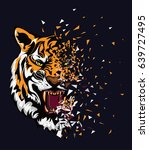 tiger style tee graphic | Shutterstock .eps vector #639727495