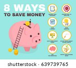 8 way to save money infographic.... | Shutterstock .eps vector #639739765