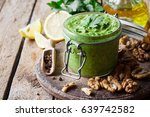 pesto sauce with parsley and... | Shutterstock . vector #639742582