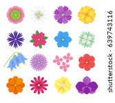 Stock vector colorful vector paper flowers set illustration d origami abstract flower icons isolated on white 639743116