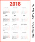Calendar For 2018 Year On Whit...