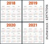 set of calendars for 2018  2019 ... | Shutterstock .eps vector #639747046