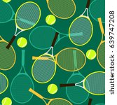 seamless pattern with tennis... | Shutterstock .eps vector #639747208