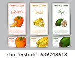 set of organic fruits cards.... | Shutterstock .eps vector #639748618