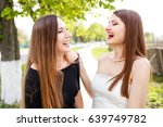 two laughing ladies in cocktail ... | Shutterstock . vector #639749782