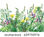 panoramic view of  wild meadow... | Shutterstock . vector #639750976
