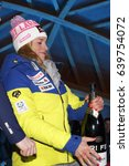 Small photo of Cortina d'Ampezzo, Italy 28 January 2017: GUT Lara of the Sui during the prize giving ceremony at the FIS Alpine Ski World Cup Women's downhill race on January 28, 2017 in Cortina d'Ampezzo, Italy.