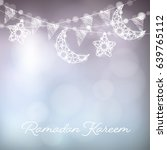 garlands with decorative moons  ... | Shutterstock .eps vector #639765112