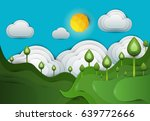 paper cut cartoon green hills... | Shutterstock .eps vector #639772666