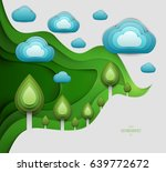paper cut cartoon forest with... | Shutterstock .eps vector #639772672