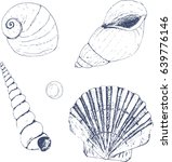 sea shell set. hand drawn style. | Shutterstock .eps vector #639776146