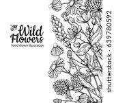 wild flowers vector drawing set.... | Shutterstock .eps vector #639780592