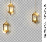 gold vintage luminous lanterns. ... | Shutterstock .eps vector #639784945