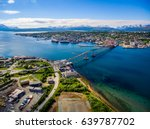 Small photo of Bridge of city Tromso, Norway aerial photography. Tromso is considered the northernmost city in the world with a population above 50,000.