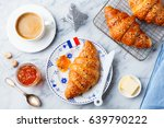croissant with coffee  jam ... | Shutterstock . vector #639790222