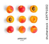 seamless pattern with apricot.... | Shutterstock . vector #639791002