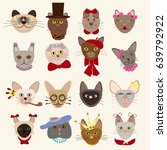 colored cute cats heads set of... | Shutterstock .eps vector #639792922